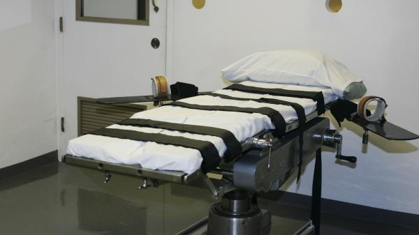 The gurney in the execution chamber at the Oklahoma State Penitentiary is pictured in McAlester, Okla., in 2008. Legal pressures and concerns from European manufacturers have made traditional execution drugs unavailable to states.