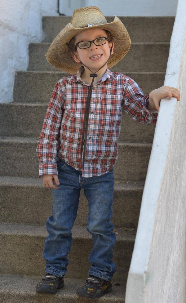 Noah Shaw, now 5, shows off his Texas roots at a recent birthday party.