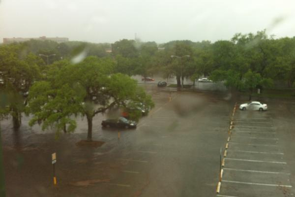 Flooding at the University of South Florida campus Friday made many roads and parking lots inaccessible.