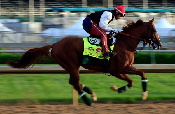 Kentucky Derby contender California Chrome exercises at Churchill Downs on Thursday in Louisville, Ky.