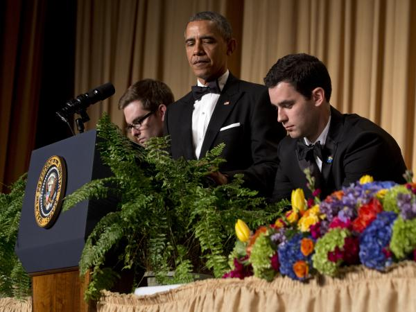 "Obama has two ferns brought to the podium as a spoof of his appearance on ""<a href=""http://www.youtube.com/watch?v=UnW3xkHxIEQ"">Between Two Ferns</a>"" for his standup at the White House Correspondents' Association dinner."
