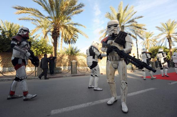 Tunisia: Fans pose as stormtroopers during a parade on the last day of the first international meeting of <em>Star Wars</em> fans in Tozeur, southern Tunisia.