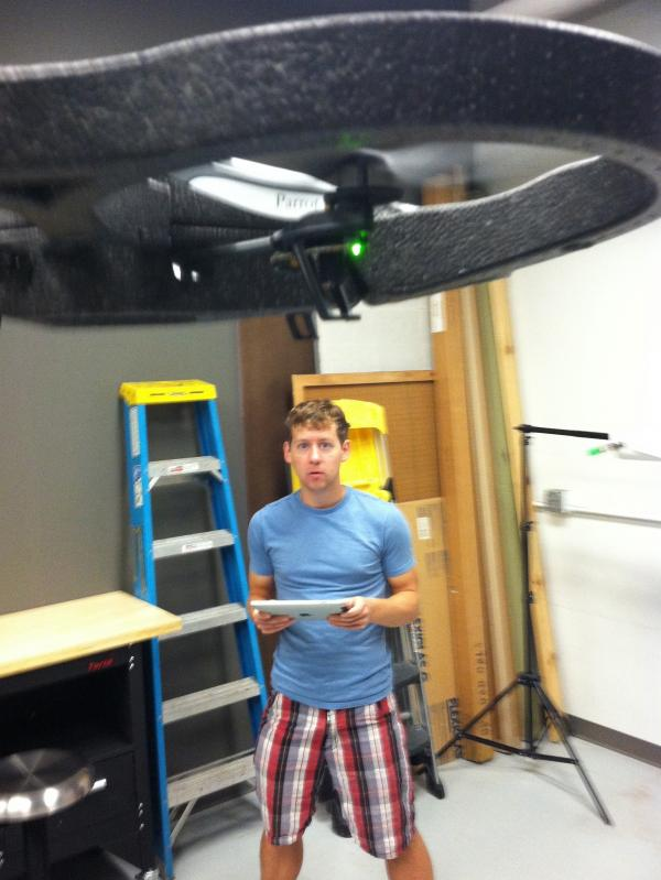 Drone Journalism Lab researcher Ben Kreimer is limited to testing drones indoors.