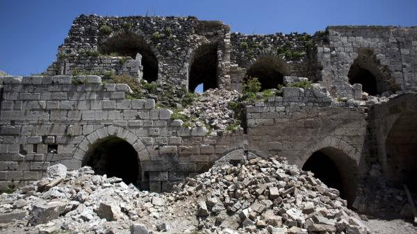 Damage to the Crac des Chevaliers, which is one of the world's best-preserved Crusader castles.