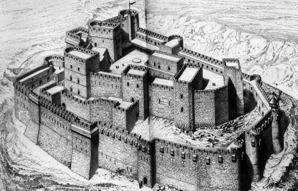 "An artist's rendering of the Crac des Chevaliers in Syria. UNESCO says the fortress ""was built by the Hospitaller Order of Saint John of Jerusalem from 1142 to 1271."""