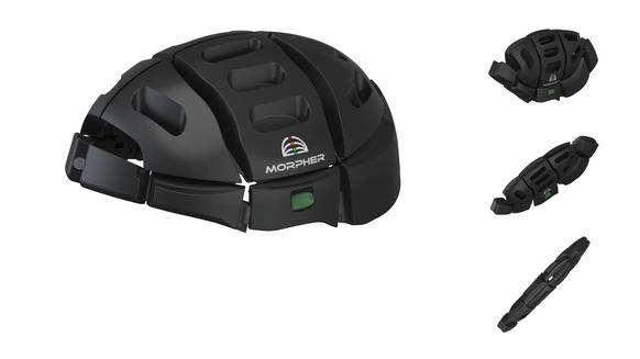 "The Morpher folds in half from a full-size bike helmet so that it can be stashed away in a laptop or shoulder bag --€"" something urban bike-share cyclists might find especially appealing."