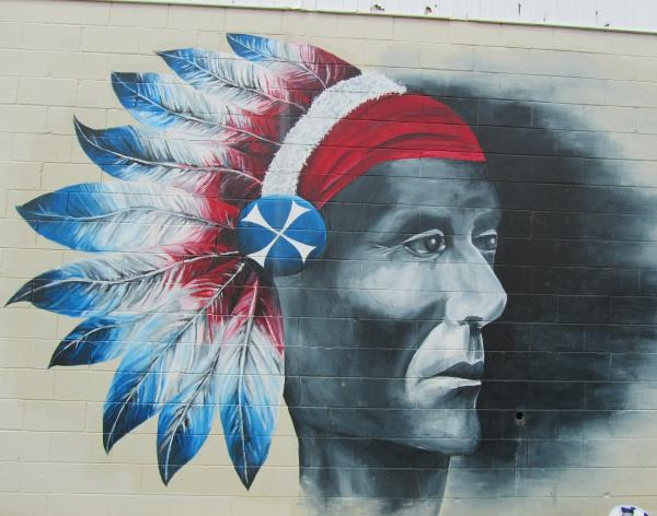 This mural by the football field features Neshaminy's mascot.