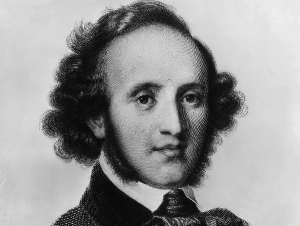 An engraving of composer Felix Mendelssohn, c. 1840.