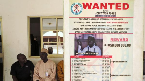 "A ""wanted"" poster for Boko Haram leader Abubakar Shekau in Baga village in northeastern Nigeria, the region where the radical Islamist group is based."