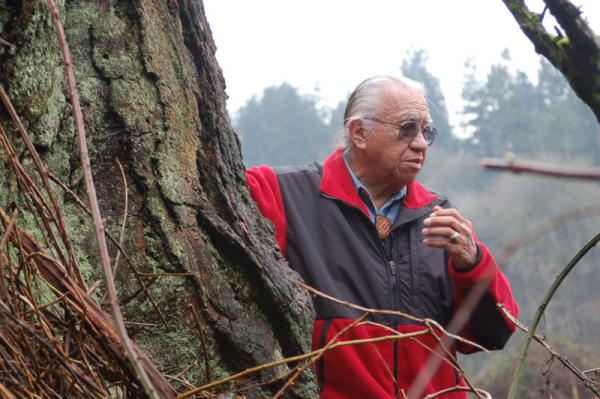 "Billy Frank Jr. at the ""Treaty Tree"" near the Nisqually River in 2007."