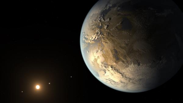 An illustration imagines what Kepler-186f may look like.