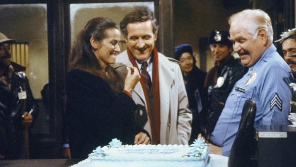 Among <em>Hill Street Blues</em>' many innovations, says David Bianculli, was focusing on a large ensemble cast instead of one or two central stars. Pictured here: Veronica Hamel as Joyce Davenport, Daniel J. Travanti as Capt. Frank Furillo and Robert Prosky as Sgt. Stan Jablonski.