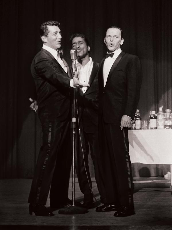 Frank Sinatra performing with Dean Martin and Sammy Davis Jr.