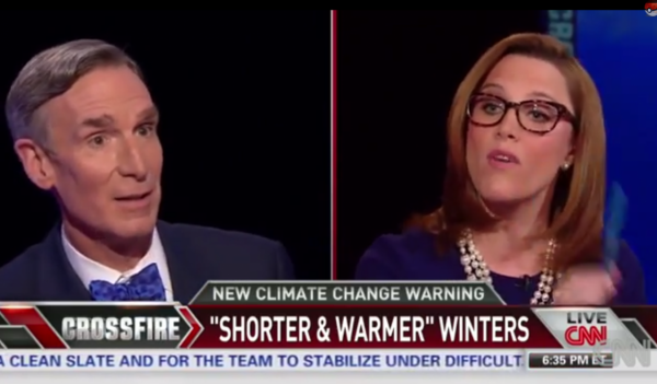"Bill Nye ""the science guy"" and CNN Crossfire co-host S. E. Cupp argue about the federal climate report. (Screenshot)"