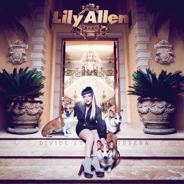 The album cover for Lily Allen's <em>Sheezus</em> goes after multiple targets, including Kanye West (in the album's title) and Queen Elizabeth II (the corgis).