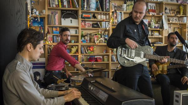 Timber Timbre performs at a Tiny Desk Concert in February 2014.