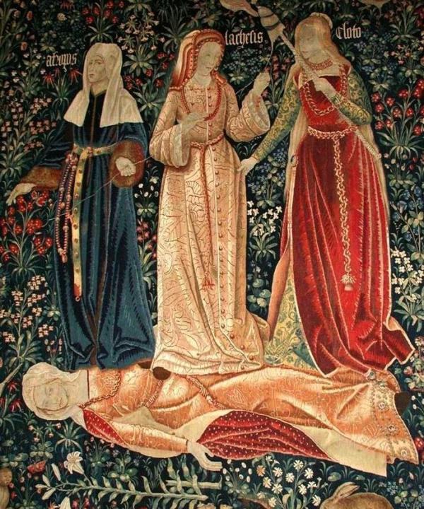 Klotho (right) is one of the three Greek Fates depicted in this Flemish tapestry at the Victoria and Albert Museum in London.