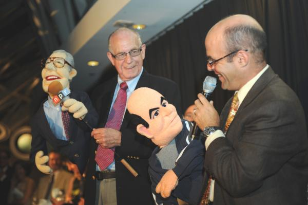 Carl and Peter meet their puppet doppelgangers at <em>Wait Wait</em>'s 10th-anniversary party.