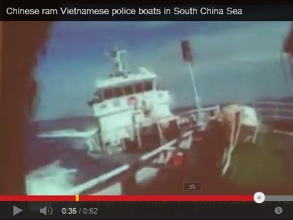 Screen grab of a video purporting to show a Chinese patrol boat ramming a Vietnamese vessel near the Paracel Islands in the South China Sea.