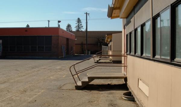 A few of the old Jefferson Elementary School portables are still standing, and will be used one more year to house other elementary students whose school is being rebuilt. Jefferson is a school in Spokane, Washington.