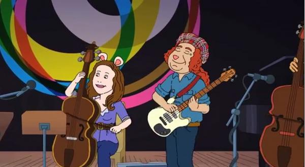 Two of the Bang on a Can All-Stars immortalized on the kids' cartoon <em>Arthur</em>.