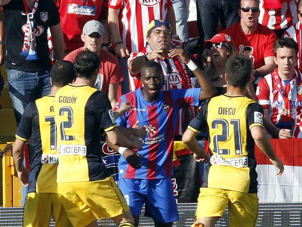 Levante's Pape Diop, from Senegal, was taunted by fans of rival Atletico Madrid who made monkey noises during a match in Madrid on Sunday.