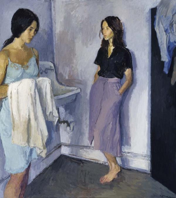 Two pensive women share a mysterious, intense moment in Raphael Soyer's 1980 <em>Annunciation.</em>