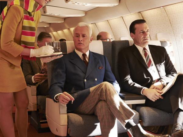 John Slattery (left) reprises his role as Roger Sterling in the seventh and final season of <em>Mad Men.</em>