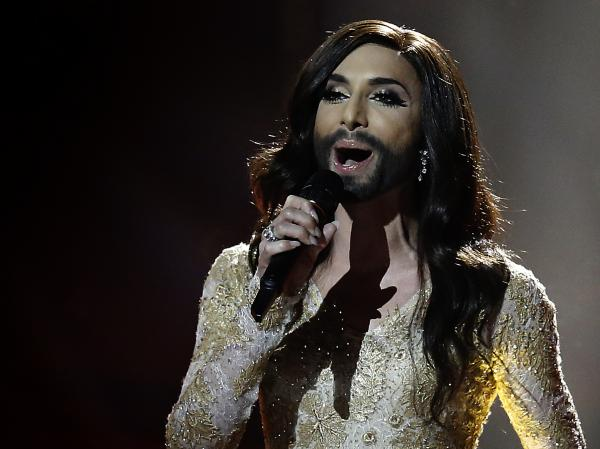 Conchita Wurst, representing Austria, performs the song 'Rise Like a Phoenix' during the second semifinal of the Eurovision Song Contest. Wurst, a bearded female impersonator, is among the favorites to win the 2014 contest.