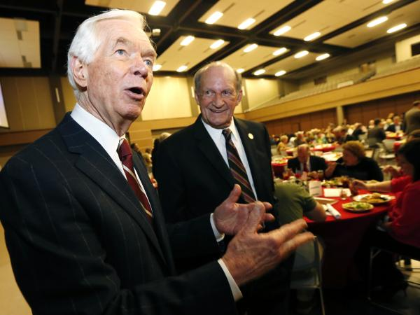 Cochran, shown here at a Pearl, Miss., Chamber of Commerce banquet, makes no apologies for bringing government largesse to the state.