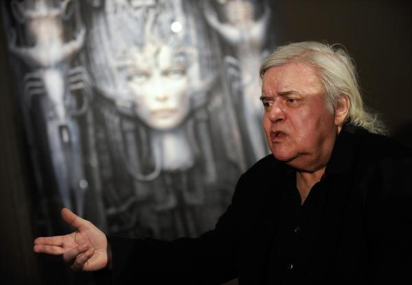 "Swiss artist H.R. Giger, seen here at his ""Dreams and Visions"" exhibition in 2011, died Monday after a fall in Zurich. Giger's work includes designs for the 1979 film <em>Alien</em>."