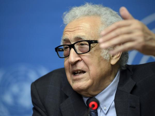U.N. mediator Lakhdar Brahimi during a news conference in Geneva.