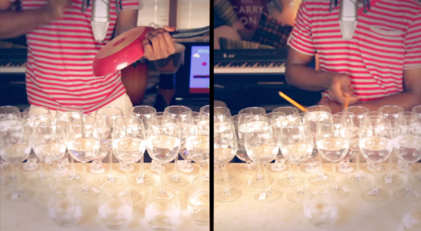 Dan Newbie plays popular songs with wine glasses and a frying pan as his instruments. (Screenshot from YouTube)