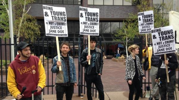 Protesters rally outside the Department of Children and Families in Hartford, Conn., in April. The state's decision to send a transgender teen to adult prison has galvanized juvenile justice and LGBT advocates.