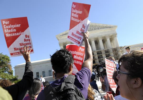 These protesters rallied outside the Supreme Court in favor of affirmative action last fall, but MTV found that majorities of young people, across races, opposed racial preferences of any kind.