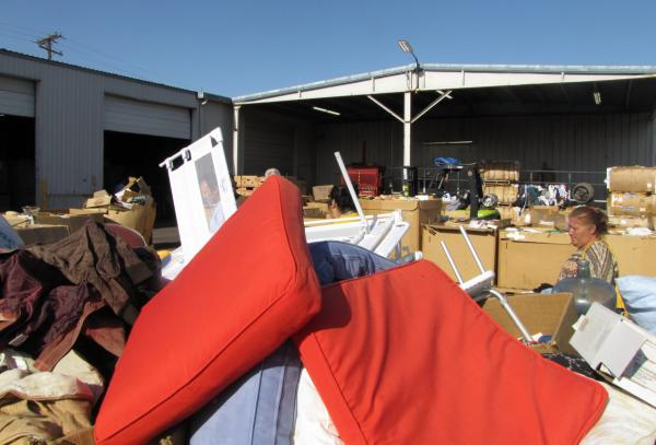 Every morning St. Vincent de Paul auctions off donations that won't sell at the store. (Peter O'Dowd/KJZZ)