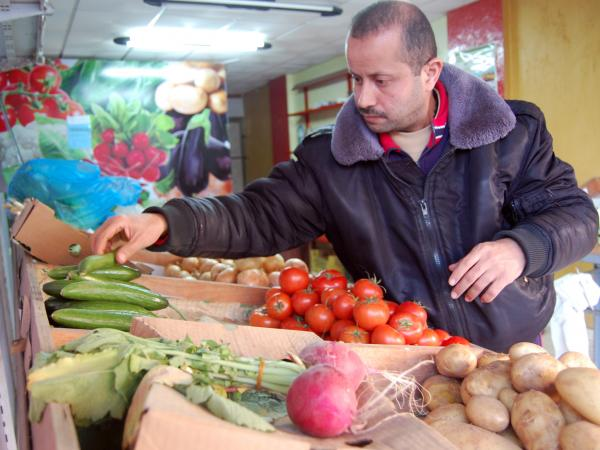 Rami al-Naffar is the clerk at a small organic produce shop in Gaza City.