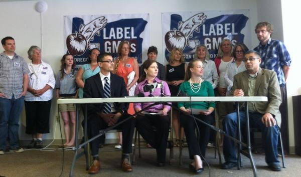Supporters gather to announce a new initiative that would allow voters in Oregon to decide whether genetically modified foods sold statewide should be labeled.