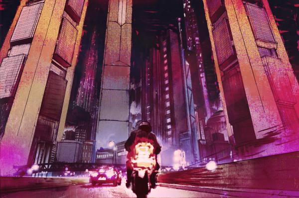 Ariel Zucker-Brull's artwork sets the dystopian tone throughout Perturbator's <em>Dangerous Days</em>.