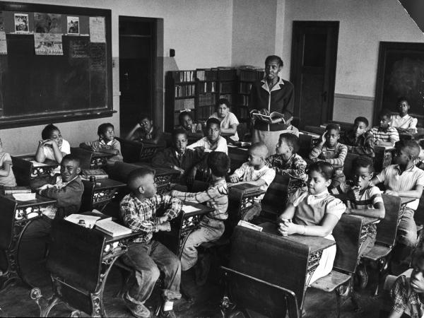 This racially segregated Monroe Elementary School class from March 1953 shows Linda and Terry Lynn Brown, who, with their parents, initiated the <em>Brown v. Board of Education</em> case that helped propel school integration.