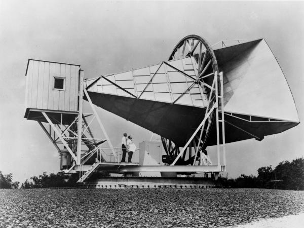 The Holmdel Horn Antenna at Bell Telephone Laboratories in New Jersey was built in 1959 to make the first phone call via satellite.