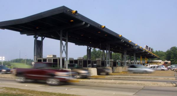Vermont's Transportation Agency is studying the possibility of funding the state's interstate system with money collected from toll booths, like this one on Interstate 95 in Hampton, N.H.