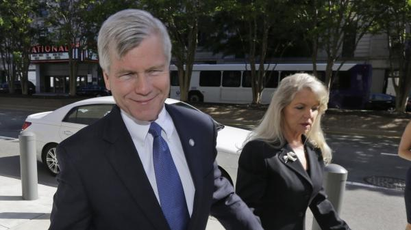 Former Virginia Gov. Bob McDonnell and his wife, Maureen, arrive at court in Richmond, Va., on Monday.