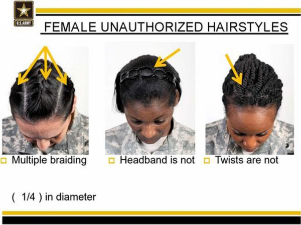 This image provided by the U.S. Army shows new Army grooming regulations for females. The new regulations on how women may style their hair has drawn criticism from the Congressional Black Caucus and female African American soldiers. (U.S. Army via AP)
