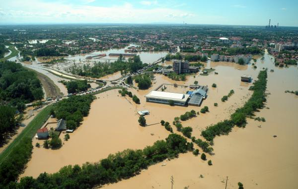 An aerial view shows the Serbian town of Obrenovac, some 30km southwest of Belgrade, flooded by the river Sava, on May 19, 2014. (Alexa Stankovik/AFP/Getty Images)