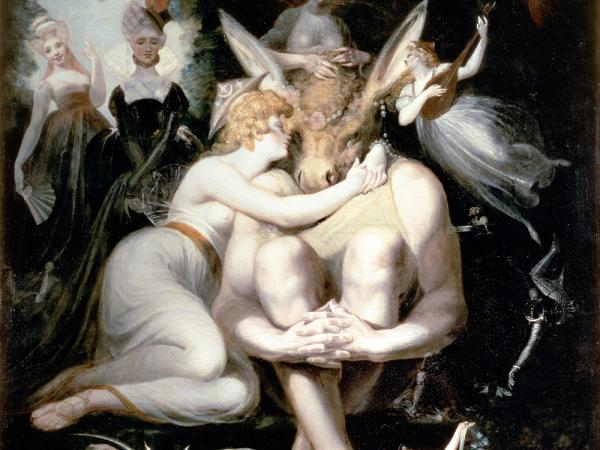 Titania awakes clinging rapturously to Bottom, still wearing the donkey's head, in Shakespeare's <em>A Midsummer Night's Dream</em>. Mendelssohn wrote music for a production of the play in 1843.