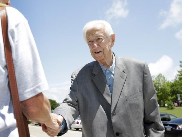 Rep. Ralph Hall, R-Texas, greets a voter outside a polling station in Rockwall, Texas, on  Tuesday.