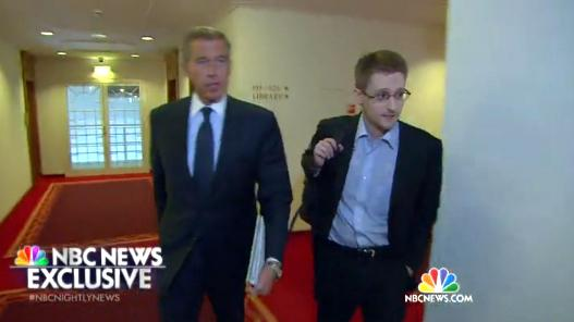 Former NSA contractor Edward Snowden spoke to NBC's <em>Nightly News</em> anchor Brian Williams in Moscow last week.