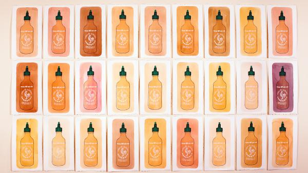 Ching Ching Cheng painted each panel of her screen-printed <em>Sriracha Hot Chili Sauces </em>with a layer of the sauce, which changes color over time as it dries and ages.