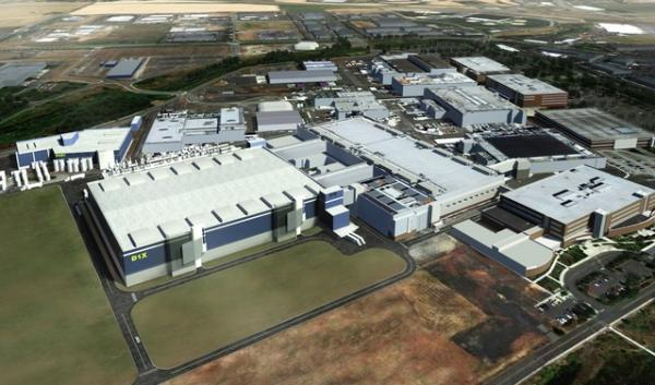 An illustration of Intel's planned D1X expansion at its Ronler Acres manufacturing plant in Hillsboro, Oregon.
